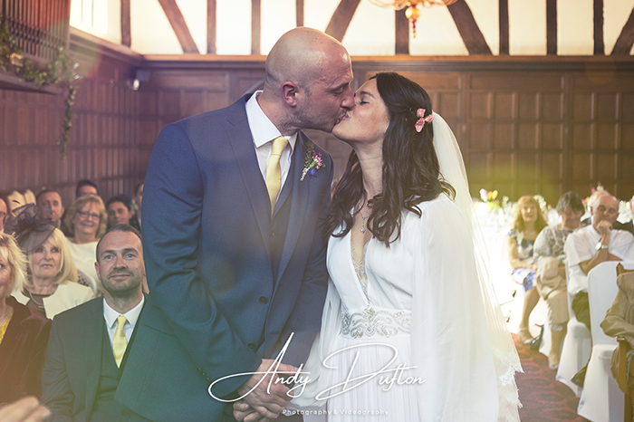 Wedding photography York Bride and Groom during wedding vows at the Merchant Taylors hall in York