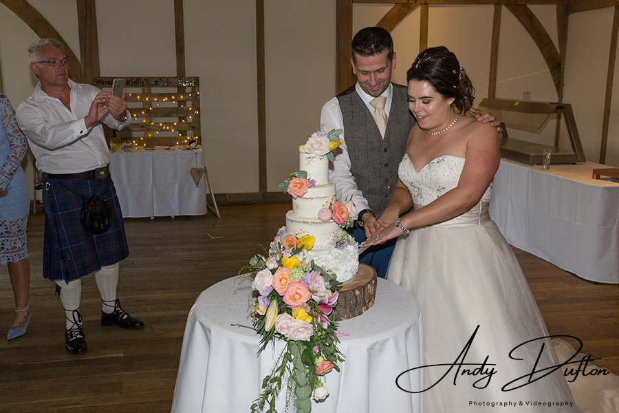 Wedding cake cake cutting Sandburn Hall York wedding photographer